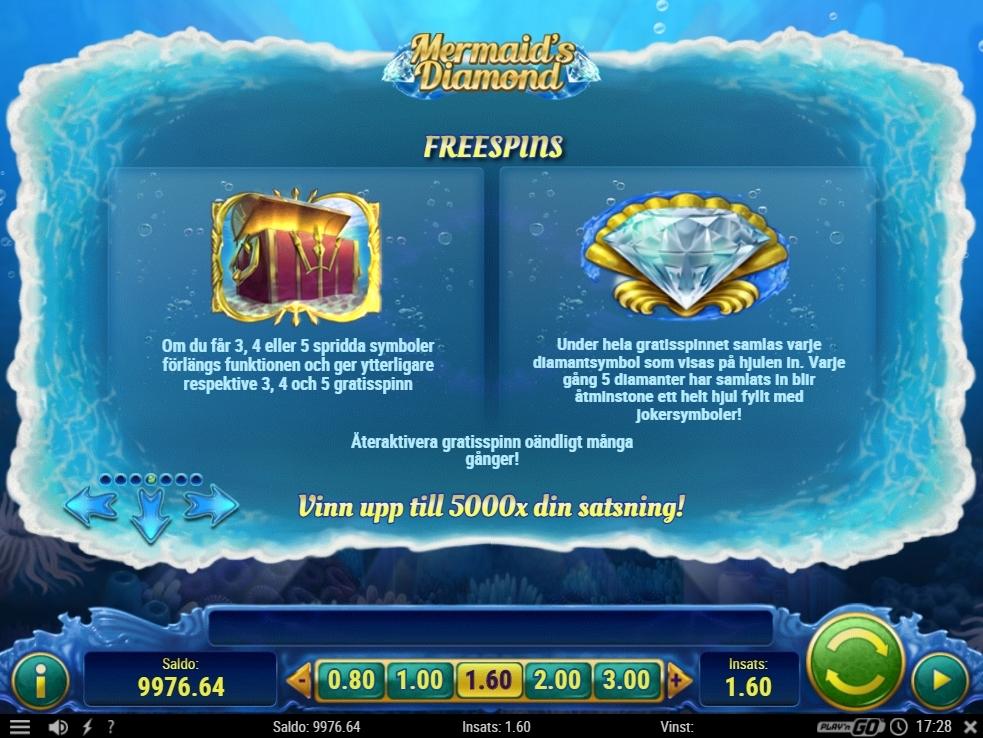 mermaid's diamond free spins