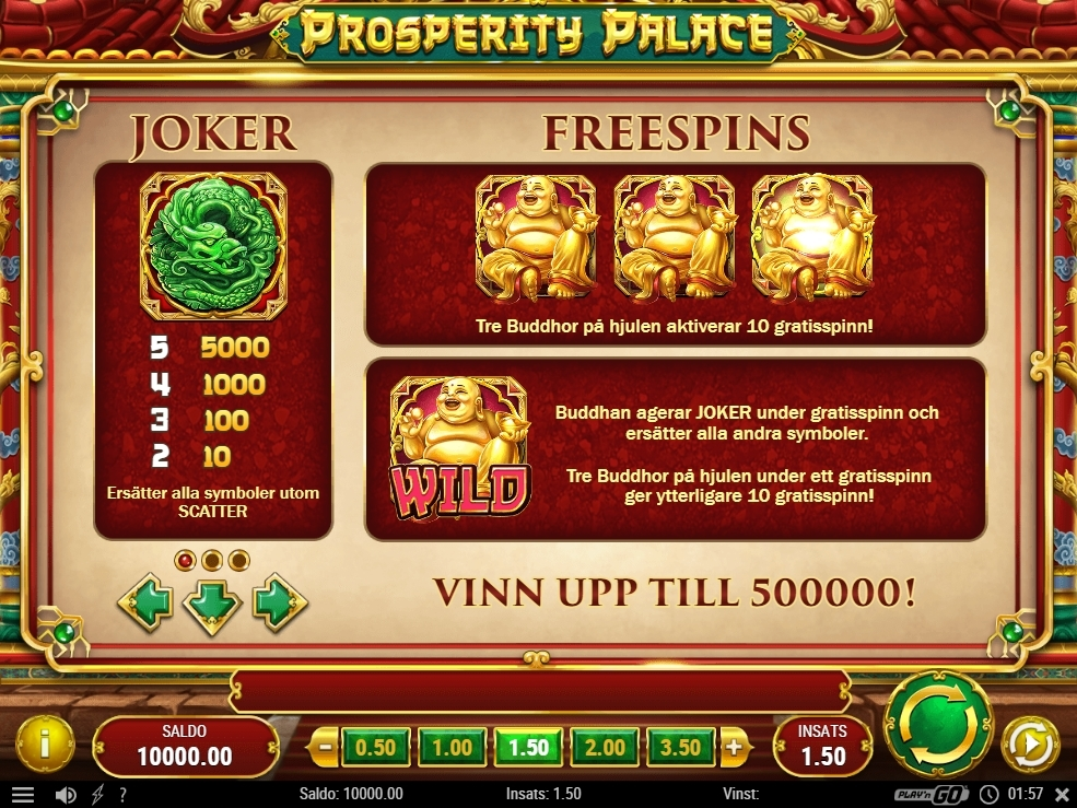 prosperity palace free spins